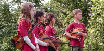 Young musicians at launch of Gort River Sound Walk. Credit: Nadin Reichel