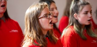 Young Ambassadors from Music Generation South Dublin perform as part of a national forum, image: Barbara Flynn
