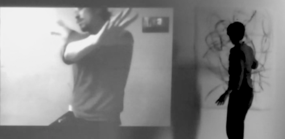 (Still) Zoom session with projection 'Research looping embodied movement and drawing' Kate Wilson with dance artist Ben McEwan.