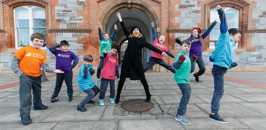 Copyright Creative Schools - Actress Cathy Belton & pupils from Central Model Senior School at the launch of the Creative Schools initiative.