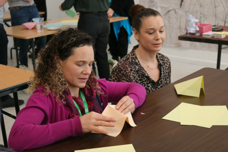 Participants during the hands-on workshop: Spatial Exploration Through Folding Vanya Lambrecht-Ward