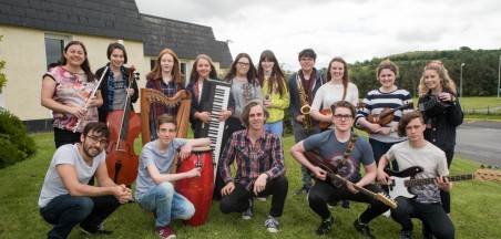Young Musicians from Sligo and Donegal representing Music Generation at the 32nd Annual Conference of the International Society for Music Education in Glasgow are pictured with the musician team working with them on the performance.