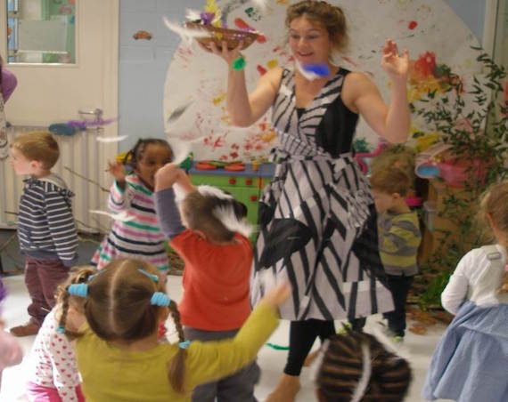 Jackie with the children (c) Fingal County Council Arts Office
