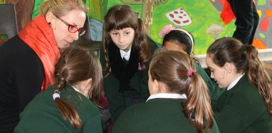Image copyright TAP - Teacher Jennifer Buggy collaborating with pupils at Sacred Heart Primary School, Portlaoise, Co. Laois as part of a TAP with artist Joanna Parkes