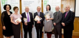 (L-R) Katie Sweeney, National Director for the Integration of the Arts in Education (DES); Dr. Dorothy Morrissey; Professor John Coolahan, Chair of the Arts in Education Charter High-Level Implementation Group; Minister for Education and Skills, Mr. Richard Bruton T.D.; Dr. Ailbhe Kenny; Feargal O Coigligh, Assistant Secretary, Arts Division, Department of Arts, Heritage, Regional, Rural and Gaeltacht Affairs; Gary Ó Donnchadha, Assistant Secretary, CAP Unit, Department of Education and Skills.