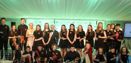 Music Generation Young Ambassadors from Carlow and Laois joined by Sir James Galway and Lady Jeanne Galway at The Worldwide Ireland Funds Conference