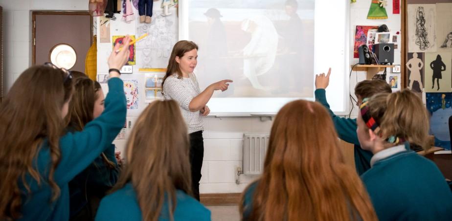 Image copyright: Dublin City Arts Office - Art Teacher Anne Moylan with pupils from Hartstown Community School.