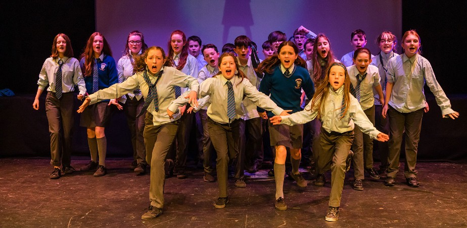 Image: Students from Coláiste Ailigh performing during Creative Schools Celebration Week 2019 at Balor Arts Centre, Donegal. (Photo copyright: Liam Kidney).